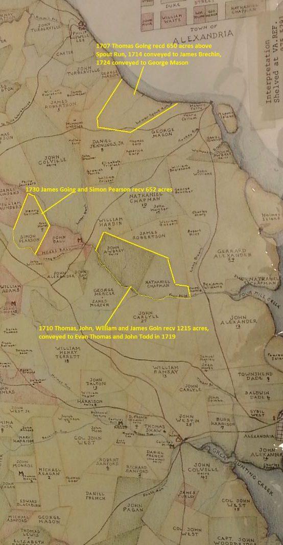 fairfax-map-1760-marked1215acres to Thomas, John, William, and James Goin -653acres to Thomas Going -652acres James Going