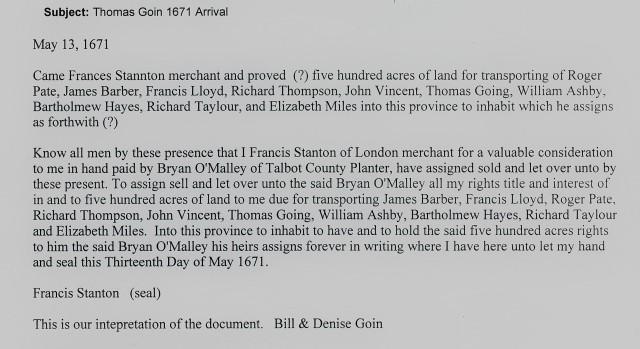 1671 Thomas Going to Maryland