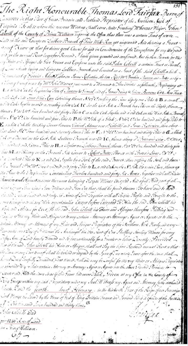 1739 James Going living adjacent to John Colville grant in Stafford Co Va snip and marked 1
