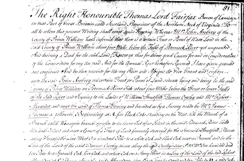 1739 Thomas Gowing living adj to John Awbrey and near Alexander Owsley Strutfield in PWC Va p1