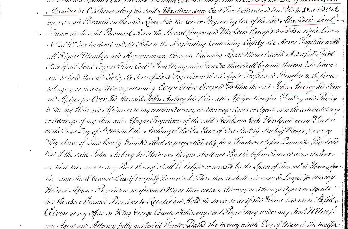 1739 Thomas Gowing living adj to John Awbrey and near Alexander Owsley Strutfield in PWC Va p2