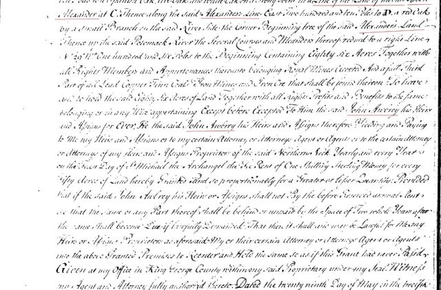 1739 Thomas Gowing living adj to John Awbrey and near Alexander Owsley Strutfield in PWC Va p2