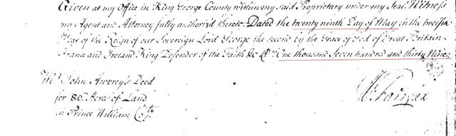 1739 Thomas Gowing living adj to John Awbrey and near Alexander Owsley Strutfield in PWC Va p3