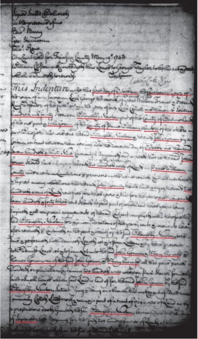 1740 Newton 200a lease to John Gowen and Thomas Gowen in Fairfax Co Va p1
