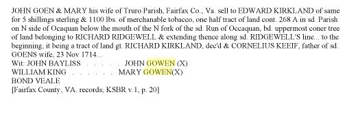 1746 John Gowen and wife conveys to Kirkland confirms Cornelius Keife is father of Mary Fairfax Co Va 2