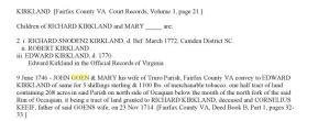 1746 John Gowen and wife conveys to Kirkland confirms Cornelius Keife is father of Mary Fairfax Co Va