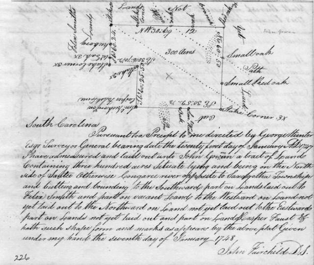1748-john-gowan-recd-300acres-adj-congaree-and-saxa-gothe-township-in-south-carolina