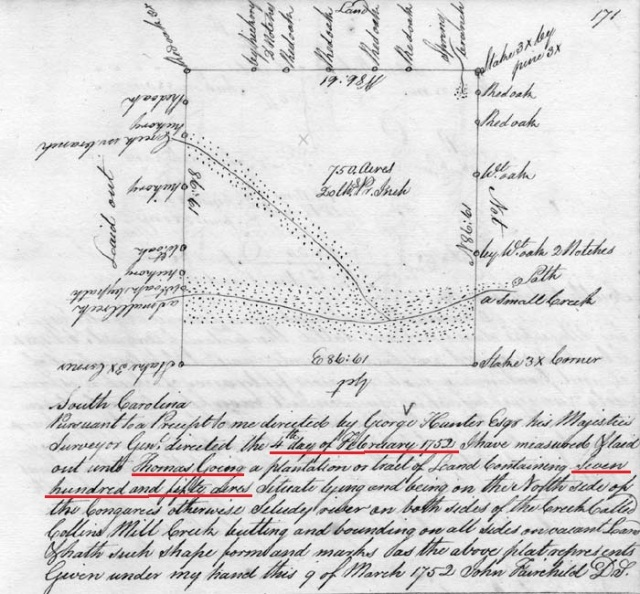 1752 Survey north of Congaree and along the Collins Mill Creek to Thomas Going Colonial Plat Books (copy series) 8 Bit Gray 300dpi Scanned By: Nancy Piester