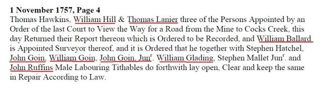 1757 Nov 1 John Wm a John Jr road order in Lunenburg Co Va marked