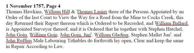 1757 Nov 1 John Wm a John Jr road order in Lunenburg Co Va marked