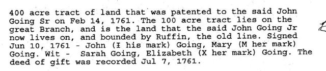 1761 John Going Sr and wife Mary to son John Going Jr in Lunenburg Co Va 2