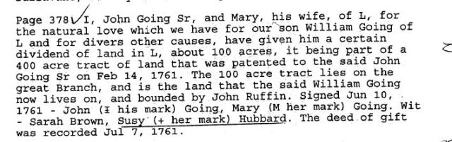 1761 John Going Sr and wife Mary to son William Going in Lunenburg Co, Va
