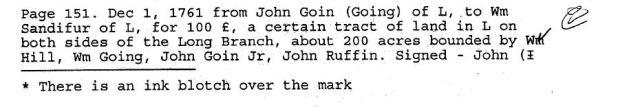 1761 John Going to Wm Sandifur bounded by William Hill, William Going, John Going Jr, and John Ruffin in Lunenburg Va 1