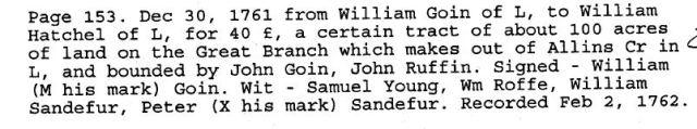 1761 Wm Goin to Wm Hatchell land bounded by John Goin, John Ruffin in Lunenburg Co Va