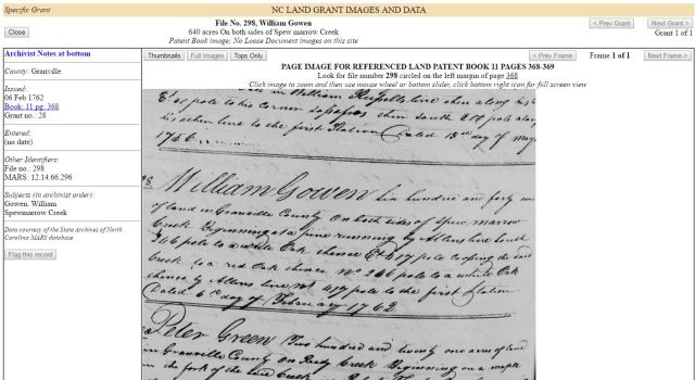 1762 land grant for WIlliam Gowen for 640 acres