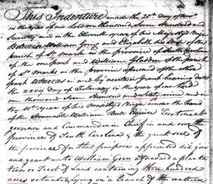 1769 William Goyne to Gladden 150a in SC 1