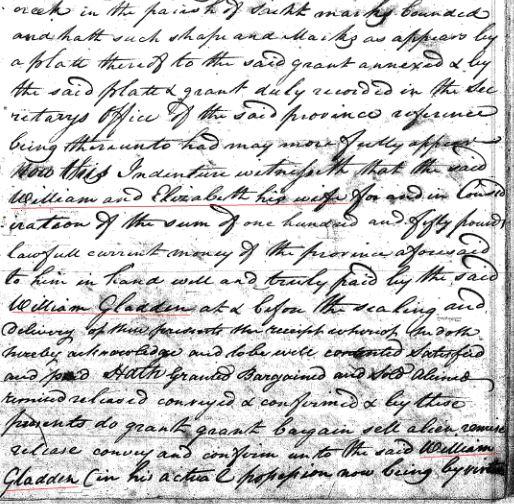 1769 William Goyne to Gladden 150a in SC 2