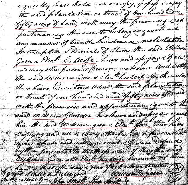 1769 William Goyne to Gladden 150a in SC 6