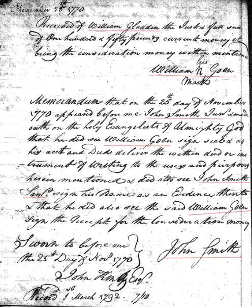 1769 William Goyne to Gladden 150a in SC 7