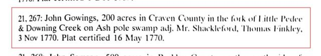 1770-sc-craven-co-john-gowings-recd-200-acres-on-downing-cr-on-ash-pole-swamp-adj-shackleford-and-finkley-snip
