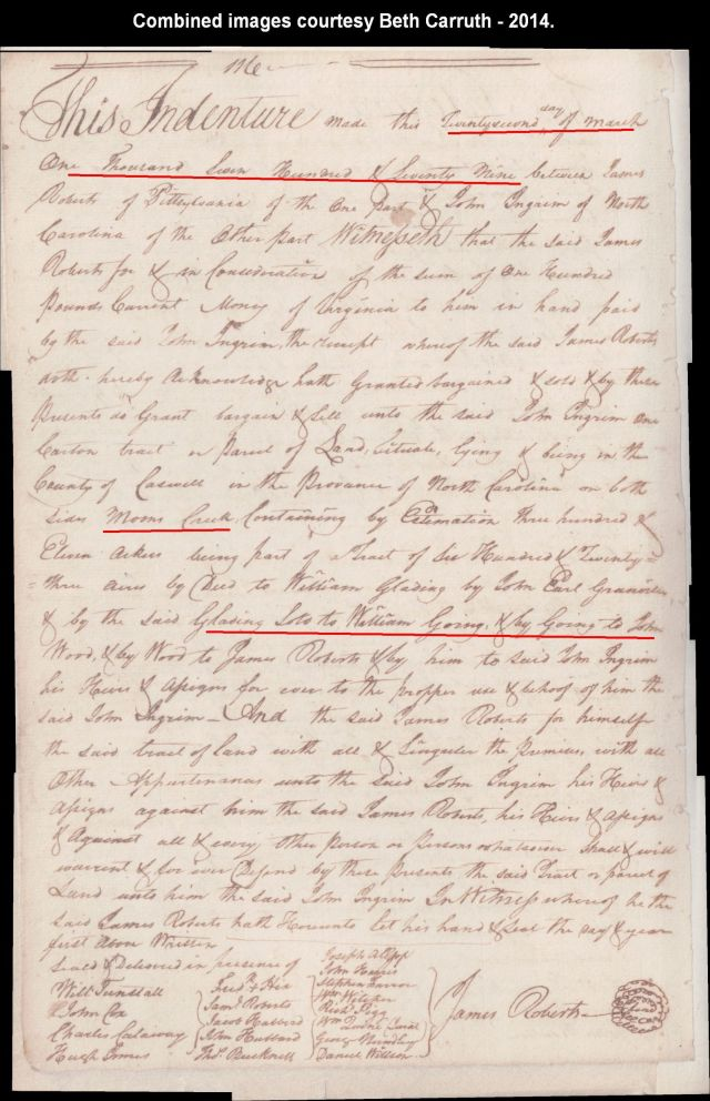 1779 roberts to ingram land that was william goings from gladen 311 acres