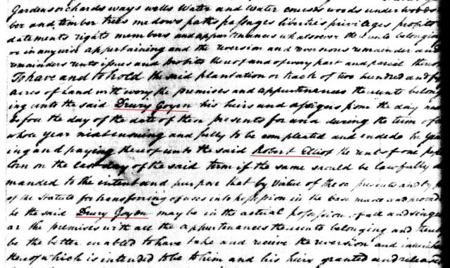 1779 Robt Elliot to Drury Goyen snip 2