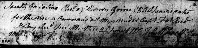 1780 Drury Goin provides provisions to troops in SC