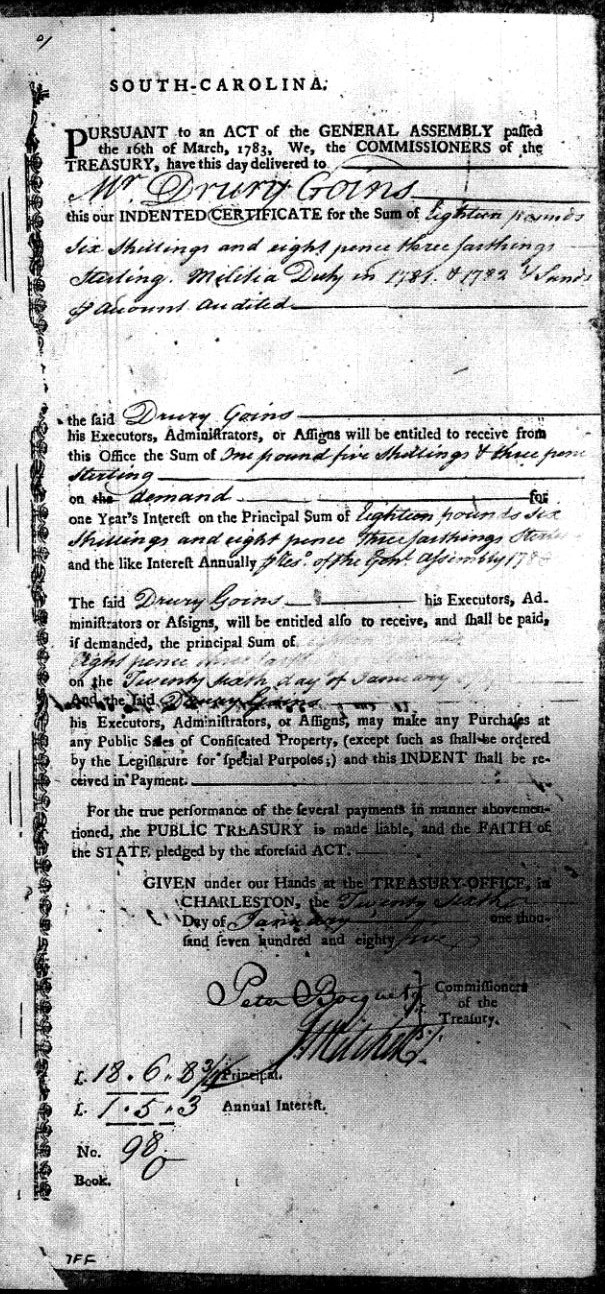 1781 and 1782 indents for service of Drury Goins during Revolution