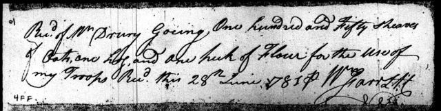 1781 Drury Going provides provisions for use of troops