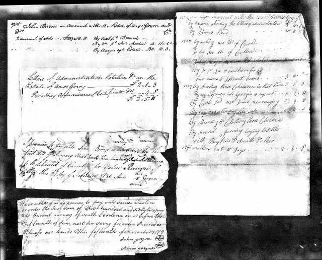 1785 probate papers 2 Amos Goyen in Fairfield Co SC