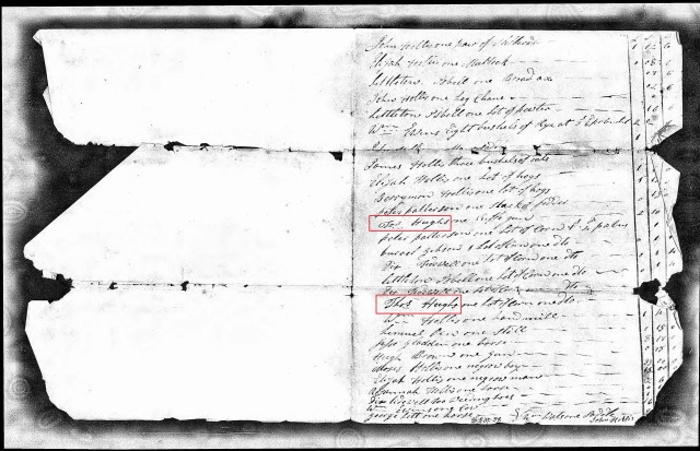 1790 SC Fairfield probate of Moses Hollis w Isaac Goine and Thos Hughes 2 marked w Thos Hughs