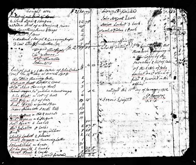 1808 and 1812 John Lockert sales probate
