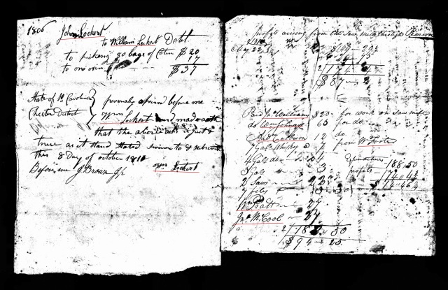 1810 John Lockert account and notes probate