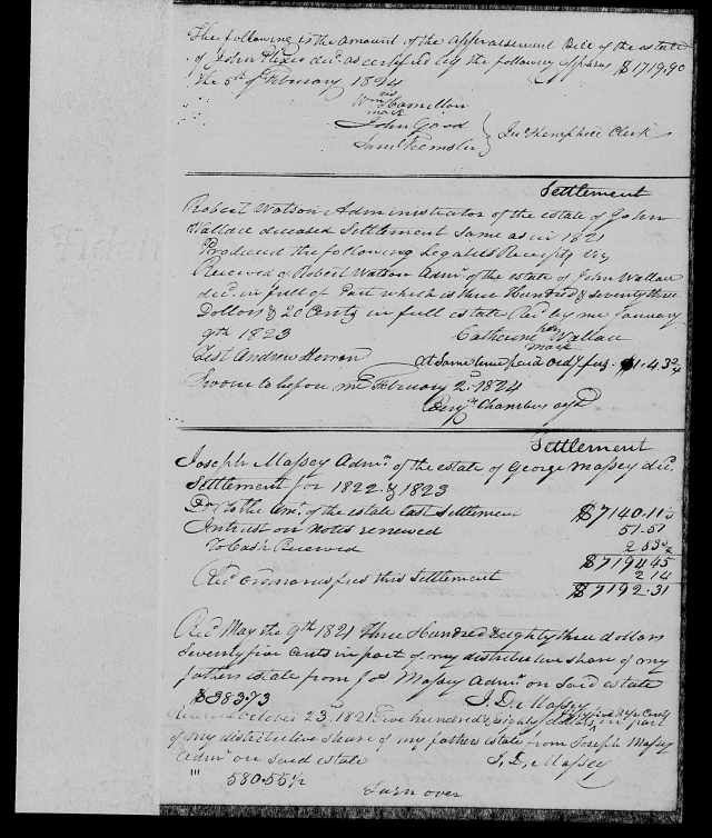 1814-1826 Plaxco, John court minutes p 1155 of Est rec books 1814-1826 Vol F in FamilySearch