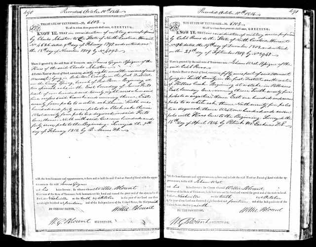 1814 Tenn land grant to James Goyne