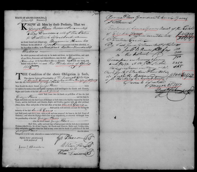 1815 - 1817 Goen, Sarah in York SC as minor having George Plaxco as guardian 2 marked