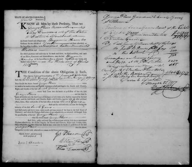 1815 - 1817 Goen, Sarah in York SC as minor having George Plaxco as guardian 2
