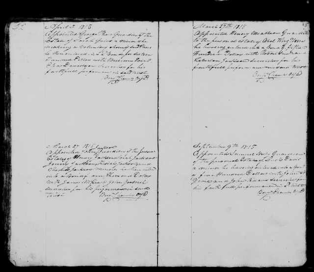 1815 Plaxco, George court minutes ordering him as Sarah Goins guardian in April 3 1815