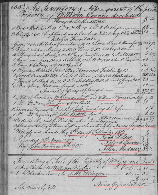 1817 Nov 7 - Ga inventory and sale of Wm Goyne estate snip
