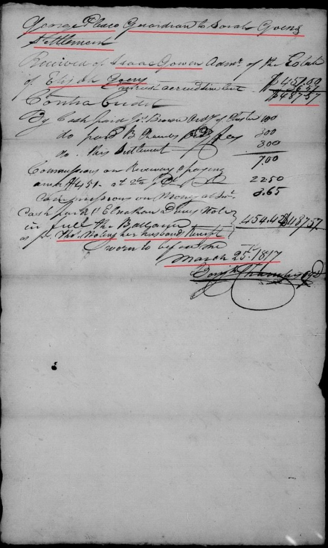 1817 Sarah Goen settlement w George Plaxco guardian, Thos Nolin as husband of Sarah Goen