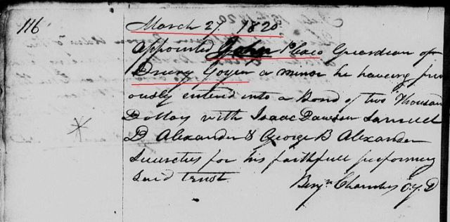 1820 John Plaxco appt as Drury B Goyen guardian in York SC