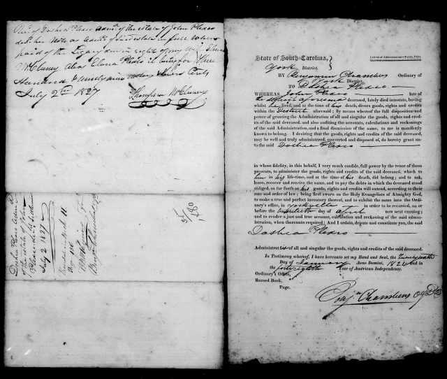 1824 Plaxco, Docea admx John Plaxco will 8