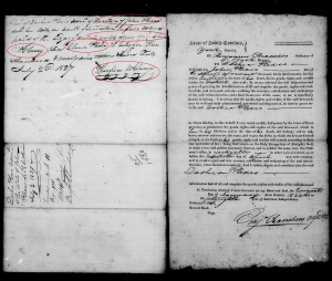 1827 Plaxco, Docea adm John Plaxco est Thompson McCluney sgn recpt for 399 for wife Elvira Plaxco