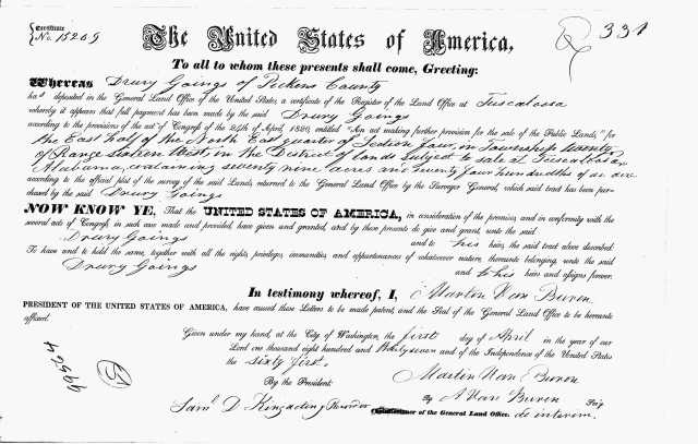 1837 15209 cert number for 1837 Land Grant for Drury Goings