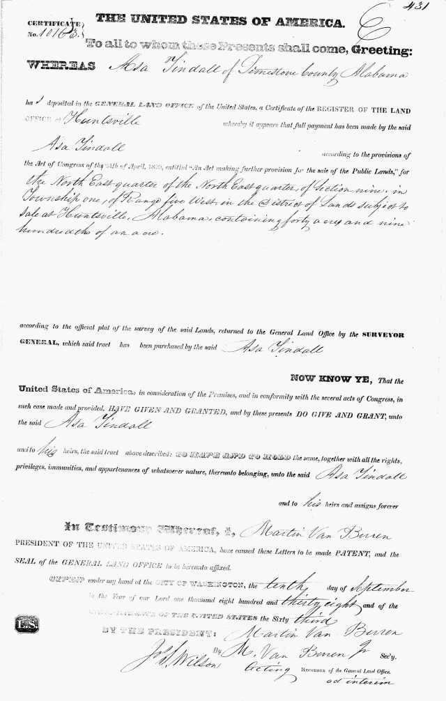 1838 Asa Tindall land grant in Alabama