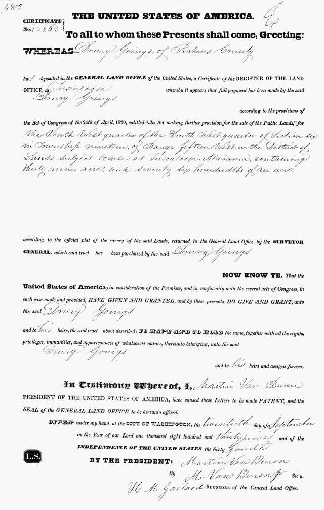 1839 18263 cert of 1839 Land Grant for Drury Goings