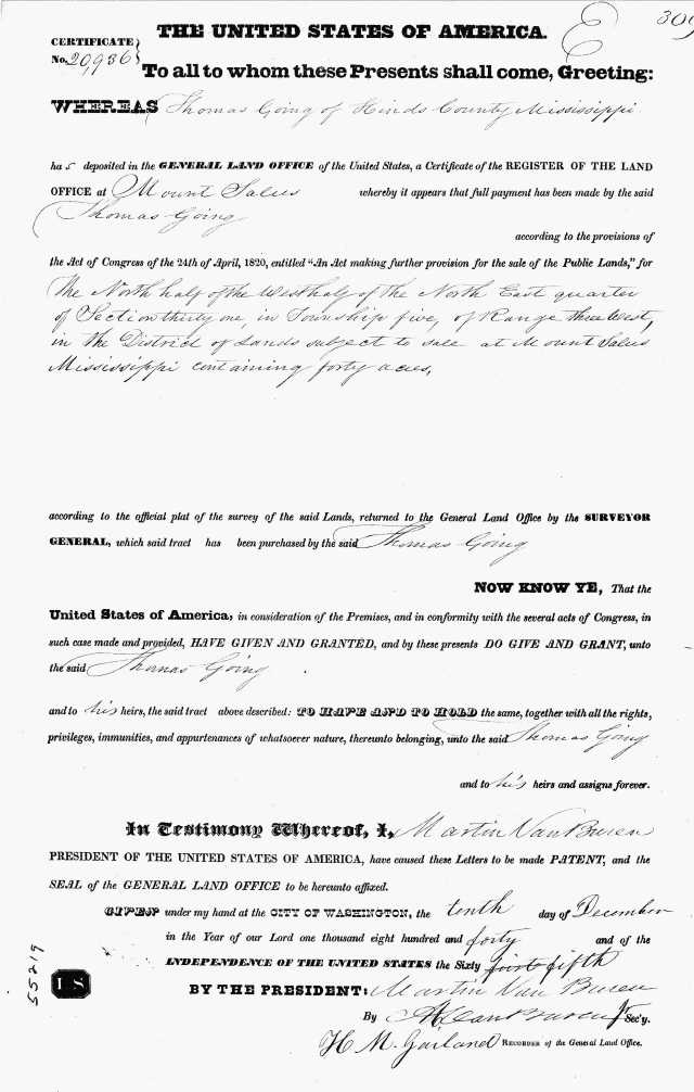 1840 20936 cert numbeer for 1840 Land Grant for Thomas Going in Choctaw Miss