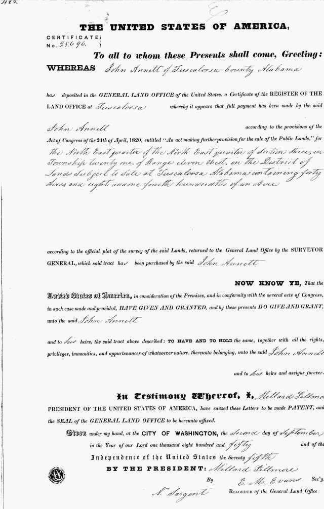 1850 Tuscaloosa Ala land grant to John Annett