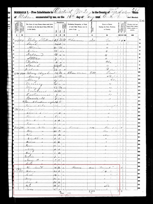 1850 US Census Tuscaloosa Al w Rebecca Going and Arnett