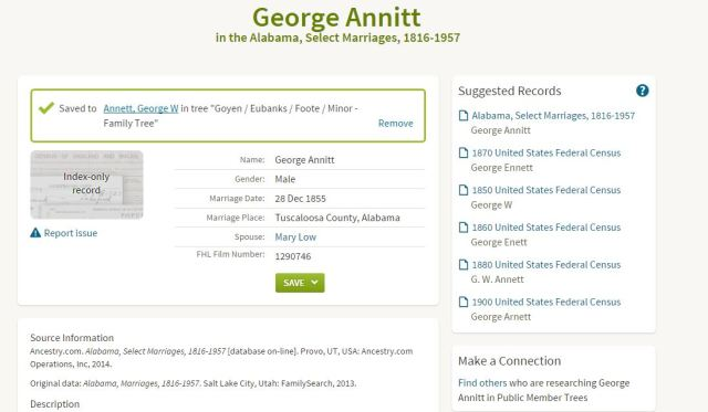 1855 Dec 28 George Annett marriage to Mary Low in Tuscaloosa Ala